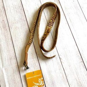 $95 Roberta Freymann Brown Leather Studded Belt